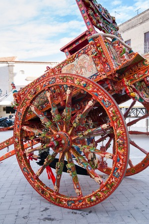 folkloristic: View of a typical colorful sicilian cart with its characteristic decorations