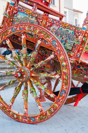 View of a typical colorful sicilian cart with its characteristic decorations