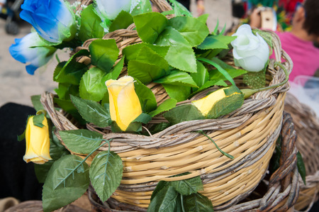 folkloristic: Typical flowered wicker basket during a folkloristic show