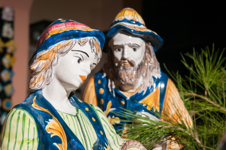 bible shepherd: Painted pottery statue of shepherd in the ceramic nativity scene of an artisan in Caltagirone