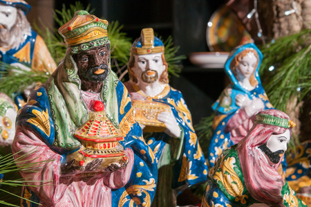 balthazar: Painted pottery statue portraying one of the three wise men, work by a ceramic artisan in Caltagirone