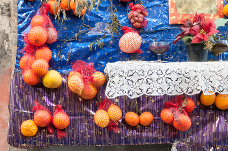 folkloristic: Rural christmas altar made with different kinf of fruits and food arranged along the streets of Lentini, Sicily