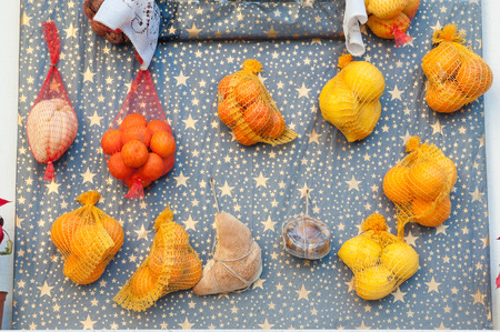 religious habit: Rural christmas altar made with different kinf of fruits and food arranged along the streets of Lentini, Sicily