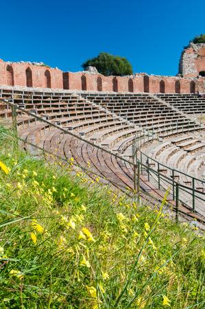 taormina: Springtime along the bleachers of the roman theater in Taormina Stock Photo