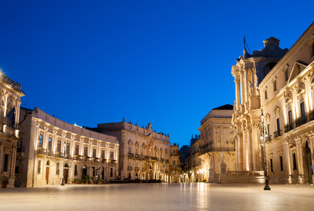 syracuse: Early morning in the famous Dom square in Syracuse, Sicily