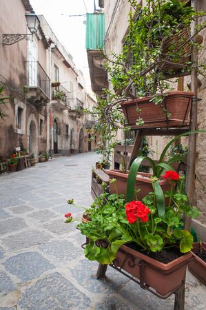 characteristic: View of one characteristic street in Ortigia, the old part of Syracuse, with an ornamental wooden ladder and flowered vases