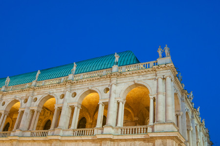 lord's: Section of the famous palladian basilica by night, Lords Square in Vicenza