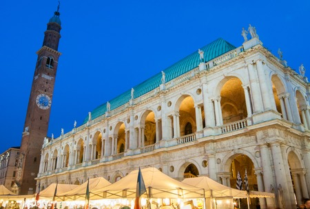 lord's: The famous palladian Basilica by night, Lords Square in Vicenza