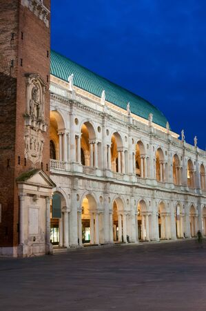lords: The famous palladian Basilica by night, Lords Square in Vicenza