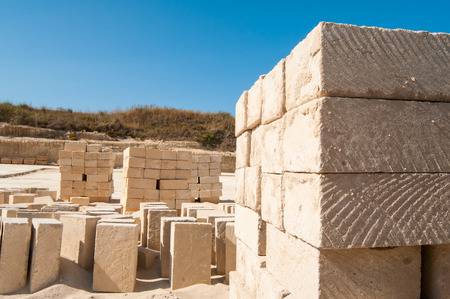 building wall: Tufa blocks in a stone quarry