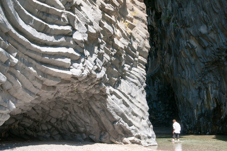 characteristic: The mouth of the Alcantara river, Sicily, and its characteristic lavic walls