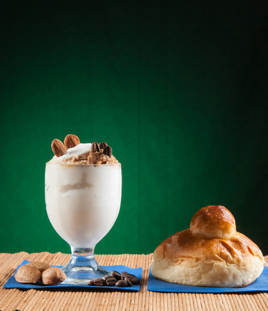 Almond and coffee sicilian granita with a typical warm brioche