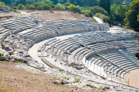 The bleachers of the famous greek theater in Syracuse, Sicily 版權商用圖片