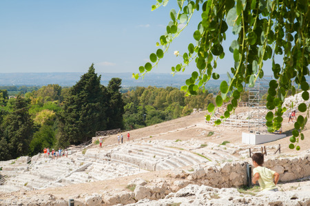 Section of the famous greek theater of Syracuse, Sicily, seen from the upper terrace with a caper plant in the foreground Stock Photo