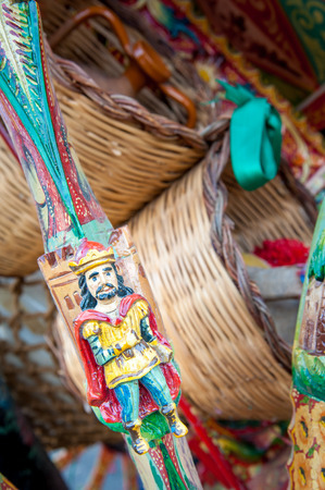 Close-up view of a colorful detail of a typical sicilian cart Stock Photo