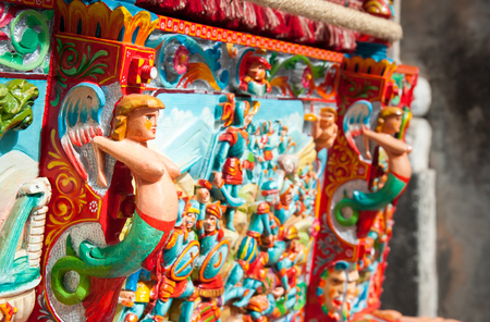 Closeup view of a colorful detail of a typical sicilian cart Stock Photo