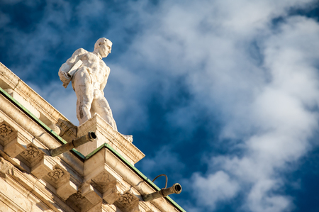 Statues on the top of the Basilica palladiana, the main monument of the town Vicenza