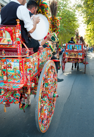folkloristic: A typical colored sicilian cart during a folkloristic show