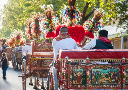 folkloristic: A typical colored sicilian carts During a folkloristic show Stock Photo