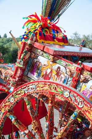 A typical colored sicilian carts During a folkloristic show Stock Photo