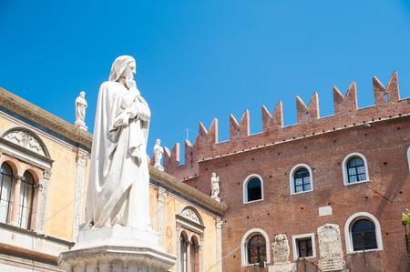 dante alighieri: The statue of the famous italian poet Dante Alighieri in Lords Square, Verona Stock Photo
