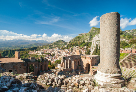 Close-up view of a column in the perimetral arcade of the old greek Taormina theater, Sicily