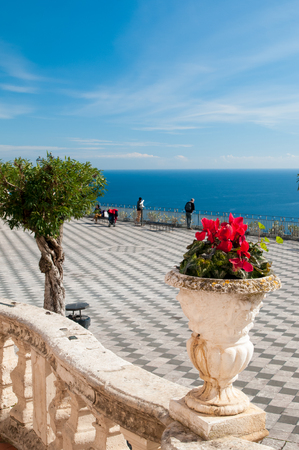 characteristic: The main Square of the famous touristic village Taormina, Sicily, seen from the little San Giuseppe church Stock Photo