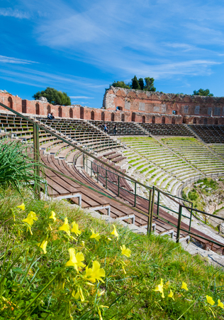 Springtime along the bleachers of the roman theater in Taormina Stock Photo