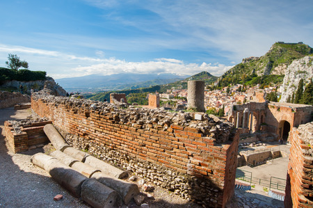 Section of the upper external arcade of the greek theater and a view of its stage, Taormina, East Sicily