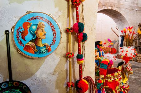 Decorated tambourine inside a workshop of sicilian folkloric craftsmanship in Ragusa, Sicily