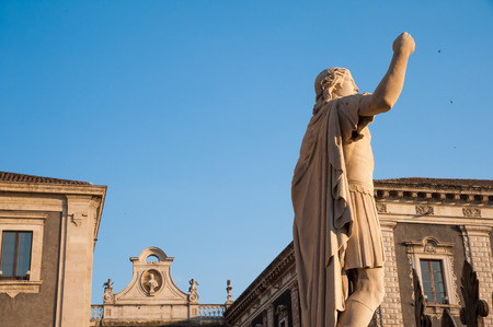 frontage: Statues outside Saint Agatha Church in Catania, Sicily Stock Photo