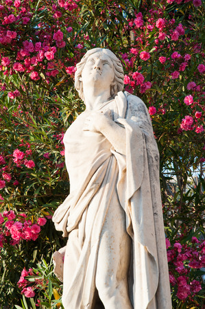 Statues outside Saint Agatha Church in Catania, Sicily Stock Photo