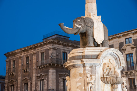Night view of the famous lava stone statue of an elephant and its obelisk in the main square of Catania, Sicily