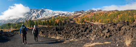 Panoramic view of northern side of Mount Etna, Sicily, with a pine and beech wood and hikers on a lavic path Stock fotó