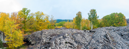 Panoramic view of an old lava flow in Mount Etna, Sicily, and a chestnut wood in autumn Stock Photo