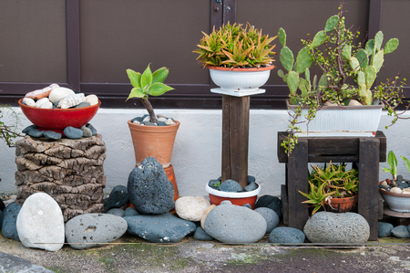 Ornamental mediterranean vases and planters along the coast of the Province of Syracuse, Sicily Stock Photo