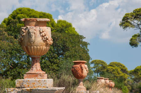 Ornamental ceramic vases in the external garden of the Donnafugata Castle, Ragusa, Sicily
