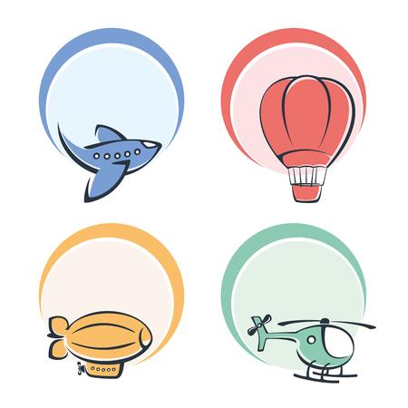 Set di icone colorate su un aereo tema Archivio Fotografico - 39330906