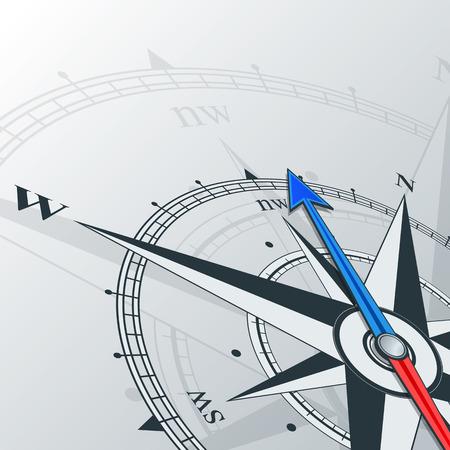 brujula: Brújula con rosa de los vientos, la flecha apunta hacia el norte-oeste. Ilustraciones pueden utilizarse como fondo