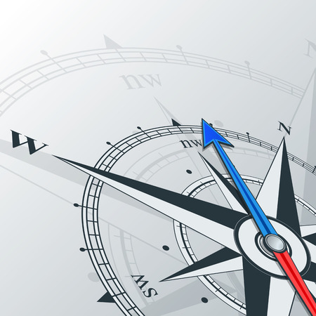 Compass with wind rose, the arrow points to the north-west. Illustrations can be used as background Ilustracja