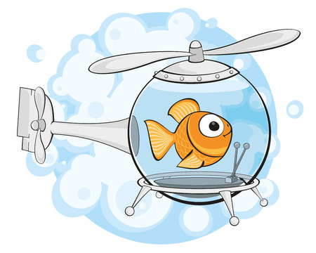 Goldfish in an aquarium similar to a helicopter on a background of bubbles Vectores