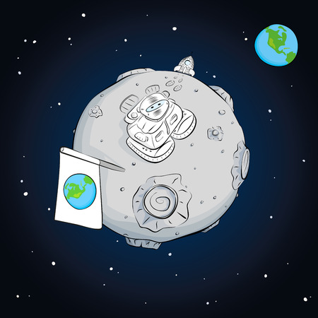 cartoon space: astronaut on the moon came out of the rocket, raised the flag and looking at the stars. EPS 10