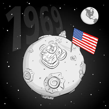 came: astronaut on the moon came out of the rocket, raised the flag and looking at the stars. EPS 10