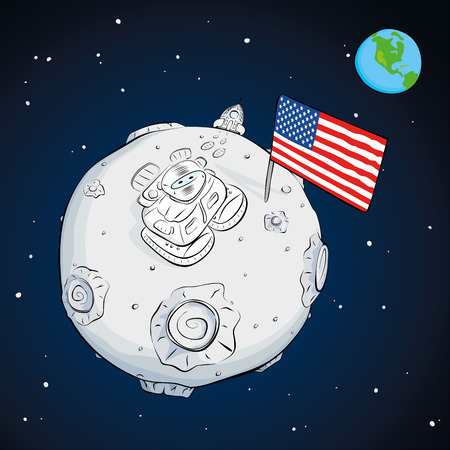 boot print: astronaut on the moon came out of the rocket, raised the flag and looking at the stars.