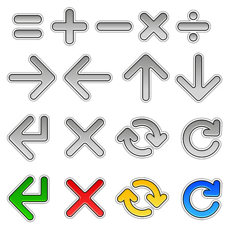 expectation: Set chrome mathematical signs and arrows.  The kit has four additional color. EPS 10 Illustration