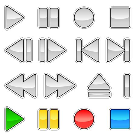 A set of chrome signs of music playback. The kit has four additional color. EPS 10