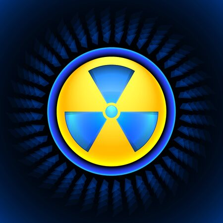 polonium: Glowing sign of radiation with a pattern on a circle on a dark background