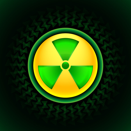 Glowing sign of radiation with a pattern on a circle on a dark background