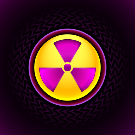radium: Glowing sign of radiation with a pattern on a circle on a dark background