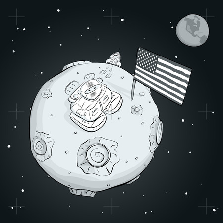 conqueror: Astronaut on the moon came out of the rocket, raised the flag and looking at the stars.